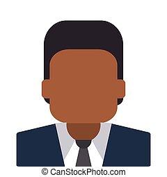 dark skin faceless man portrait icon - flat design dark skin...