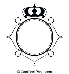decorative vintage frame with crown icon