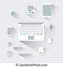 Flat design devices computer vector illustration concept