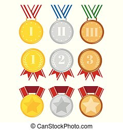 Flat design different medals set isolated on white background Vector illustration.