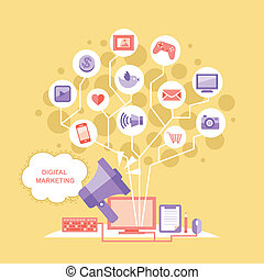 flat design megaphone with cloud digital marketing concept