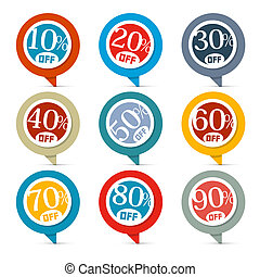 Flat Design Discount Colorful Vector Stickers - Labels Set