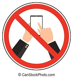 Flat design do not use mobile phone restrict sign. Prohibit sign in privacy policy in business concept design.