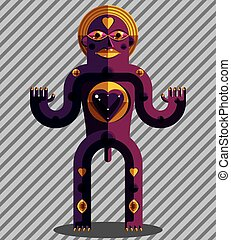 Flat design drawing of odd character, art picture made in...