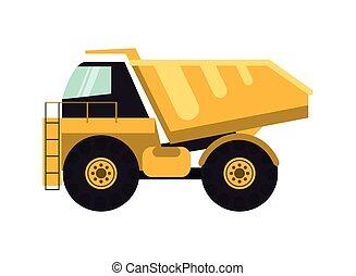 flat design dump truck icon vector illustration