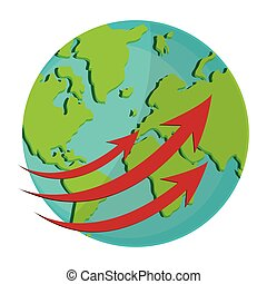 earth globe with arrows icon