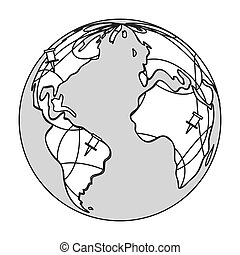earth globe with pins icon