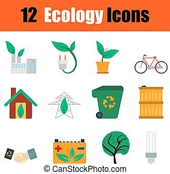 Flat design ecology icon set