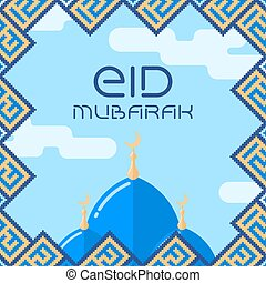 Eid-al fitr card - Flat design Eid-al fitr card with ...