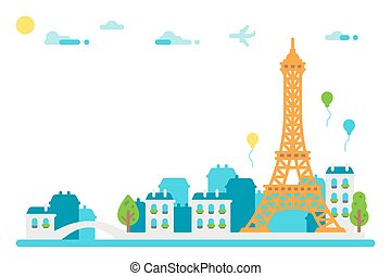 Flat design Eiffel tower Paris