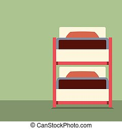 Flat Design Empty Bunk Bed Vector.