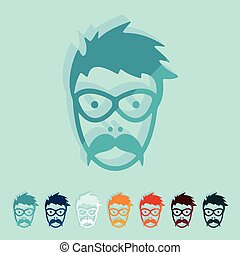 Flat design: face male