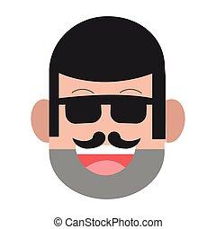 face of man with facial hair icon - flat design face of man...