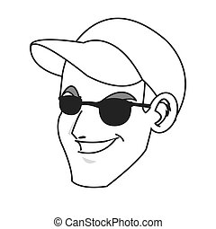 face of young man smiling wearing hat and sunglasses icon