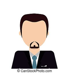 faceless man with facial hair wearing suit icon - flat...