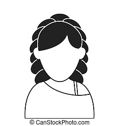 faceless woman with curly hair portrait icon