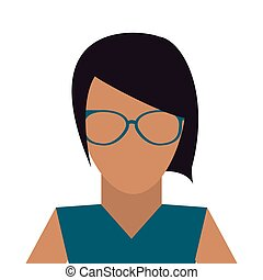 faceless woman with glasses icon