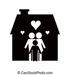 family and house pictogram icon