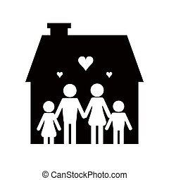flat design family and house pictogram icon vector illustration