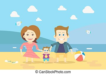 Flat design Family on the Beach Vector