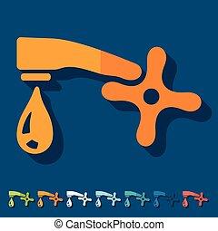 Flat design: faucet