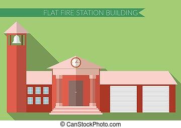 Flat design fire station building