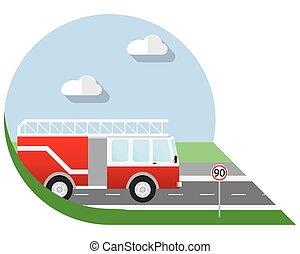 Flat design fire truck icon