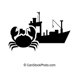 fishing boat and crab icon - flat design fishing boat and ...
