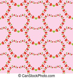 Flat Design Flower Pattern Heart Shaped on Pink Background Vector Illustration