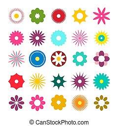 Flat Design Flowers Icons. Vector Simple Flowers Set.