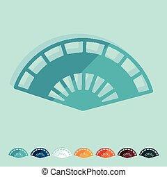 Flat design. folding fan