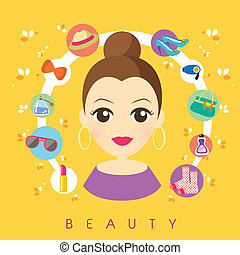 flat design for beauty and shopping concepts