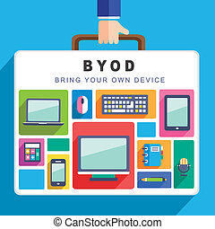 flat design for bring your own device concept graphic