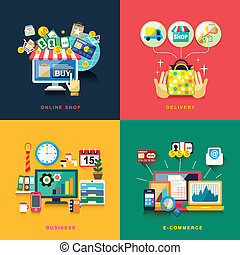 flat design for e-commerce, delivery, online shopping, ...