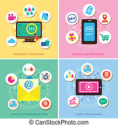 flat design for E-commerce icons set