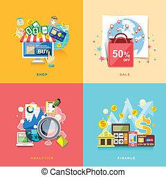 flat design for e-commerce, online shopping, sale, finance, analytics