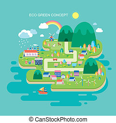 flat design for eco green concept