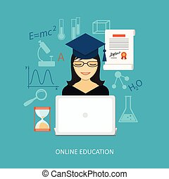Flat design for education time - Flat design modern concept...