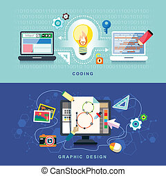 flat design concept of graphics design and coding