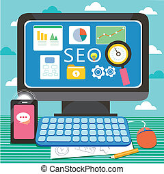 flat design for search engine and website optimization