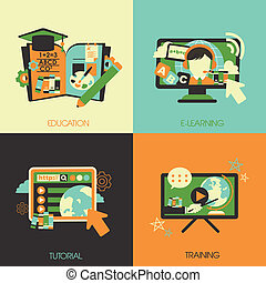 flat design for the education concepts
