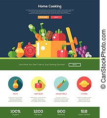 Flat design fruits and vegetables website header with icons