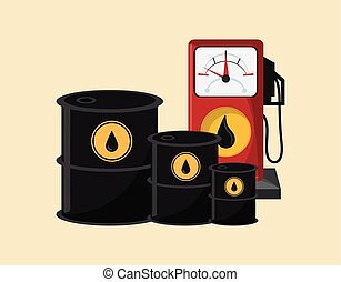 gas pump with petroleum oil related icons image