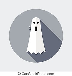 Flat design ghost icon