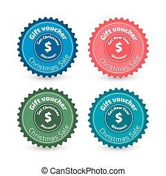 Gift voucher label - Flat design Gift voucher label with red...
