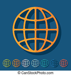 Flat design: globe