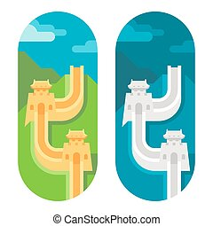 Flat design great wall of China illustration vector