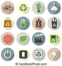 Flat Design Green Concept Icons.