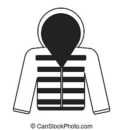 winter jacket icon - flat design grey line hooded winter...