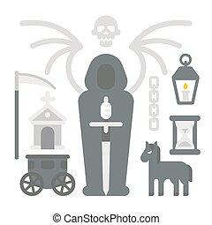 Flat design grim reaper item set illustration vector